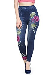Banter Womens Printed Denim Jegging (Assorted Mixed Colour_Blue, Free Size)