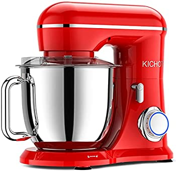 KICHOT Stand Mixer 10-Speed 3-Layer Red Painting Tilt Head Electric Food Mixer 4.8QT Kitchen Mixer with Dough Hook Flat Beater Wire Whisk and Splash Guard  Red