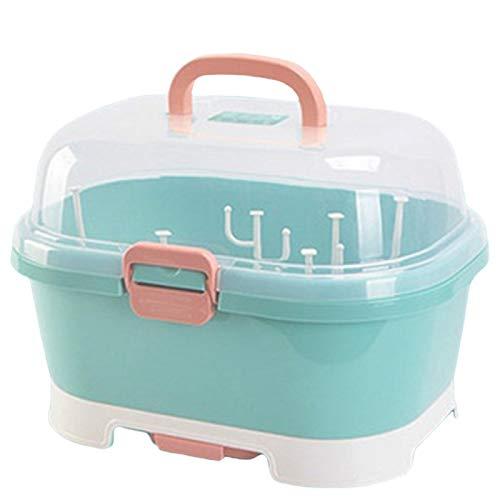 SODIAL Tragbare Babyflaschen Aufbewahrungsbox W?Schest?Nder Kunststoffgeschirr Trockenkoffer Kid Travel Feeding Multifunktionale Aufbewahrungsbox-GrüN