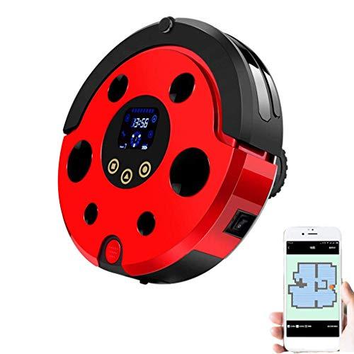 Dmqpp Robotstofzuiger met smart mapping, dual-afstandsbediening en app-control 1200 PA sterke SOG, zelfopladen, Breakpoint- levensduur van de batterij, goed voor huisdier-haar, kortpolig tapijt, rood