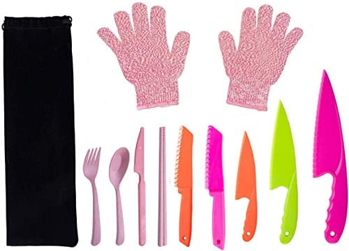 Fansisco 8 Pieces Kid Plastic Kitchen Knife Set Children s Safe Cooking Knives Set with Cut product image