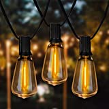 Spacenight Outdoor String Lights 30ft with 25+2 Spare LED Filament Bulbs, Dimmable Shatterproof Waterproof, for Indoor/Outdoor Decoration and Lighting, Edison Vintage Style Warm 2200K