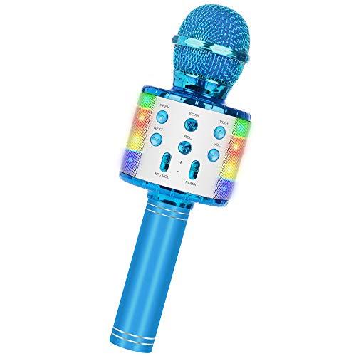 Micrófono Inalámbrico Bluetooth Karaoke,5 en 1 con Altavoz PortáTil con Luz LED Multicolor MicróFono Radio FM Remix Infantil con Cantar y Grabación,Compatible para Niños Adultos Cumpleaños(Azul)