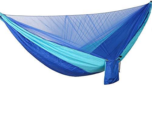 Bwiv Hamaca Ultraligera para Viaje y Camping Hamacas Colgantes Mosquiteras de Nylon Portátil Paracaídas Secado Rápido para Excursión Jardín de Carga 300 KG 290×140cm Empalme Azul