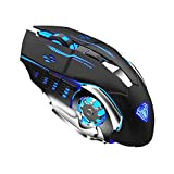 AULA SC100 Wireless Gaming Mouse Rechargeable, with 800mAh Battery, 2 Side Buttons, RGB LED Backlit, Ergonomic Optical 2.4G Cordless Computer Mice for Laptop, Tablet, Desktop, PC Games & Work (Black)