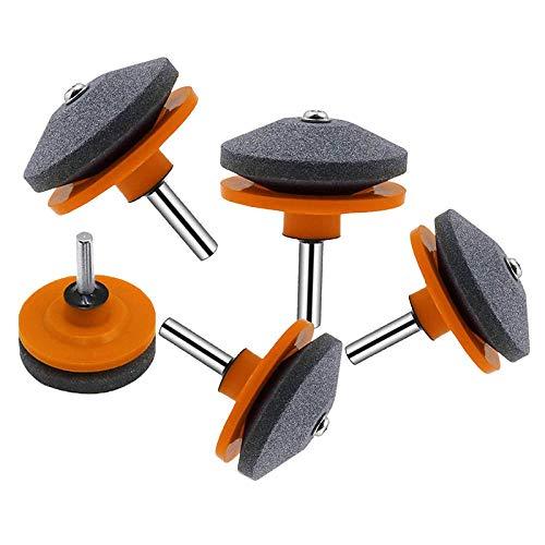 Afilador de cuchillas para cortadora de césped, 5 uds, Herramienta de equilibradora de cuchillas para cortadora de césped de piedra para cualquier taladro eléctrico