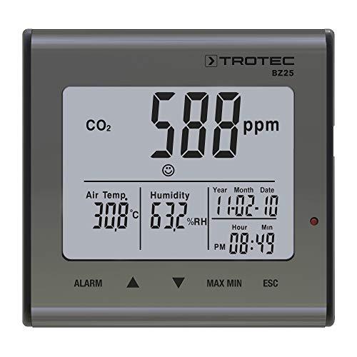 TROTEC BZ25 CO2-Luftqualitätsmonitor Ideal für Büro Schule Kindergarten Raumluft Raumtemperatur Luftfeuchtigkeit