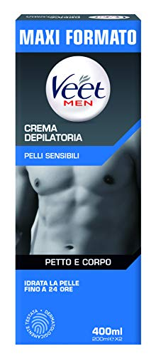 Veet For Men Crema Depilatoria per Uomo Pelli Sensibili, 400 ml, 2 x 200 ml