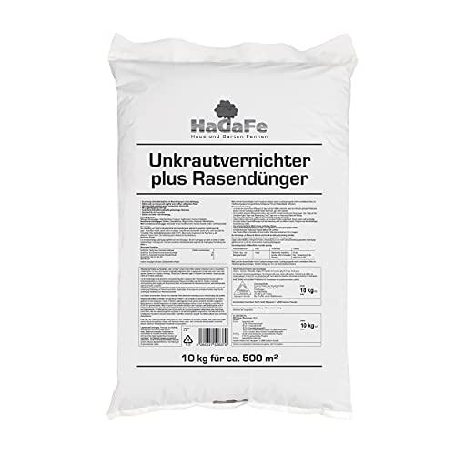 HaGaFe Unkrautvernichter Plus Rasendünger Dünger mit UV NPK Volldünger 10 kg (1 x 10 kg)