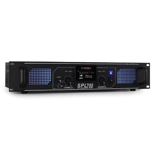 Skytec SPL-700 Amplificador Sonido Profesional DJ MP3, USB,SD, Rendimiento MAX. 700W