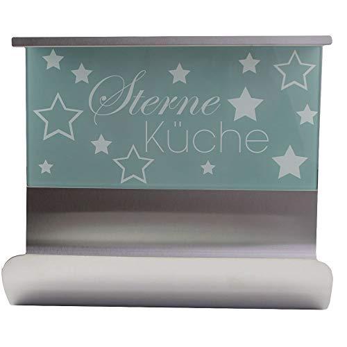 Wenko Edelstahl Küchenrollen-Halter Sterneküche, grau, magnetisch, mit Regalboard