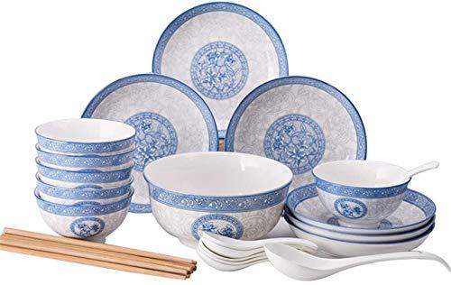 Qilo Azul y blanco de cerámica Placa - 6 pulgadas - vidriado Craft - Bellas patrón de mano de obra fina - adecuados for hornos, hornos de microondas, desinfección armarios, lavavajillas - 18 piezas Qi