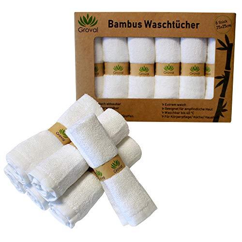 Groval®️ 6 Bambustücher | Abschminktücher | Bambuswaschlappen extra weich | wiederverwendbar | waschbar | Starke Saugkraft | Vegan | Nachhaltig | geeignet für Bad | Küche | Körperpflege | Babytuch