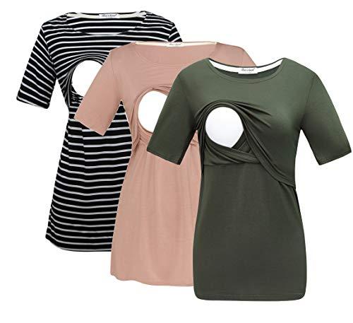 Bearsland Women's 3 Packs Maternity Nursing Tops Short Sleeve Breastfeeding Shirts,blkwitstripegreenbrown,L