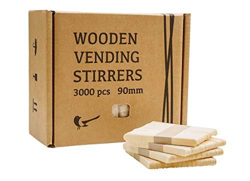 Talivenda Mezclador de café de madera, apto para el coche, varillas de madera, varillas de madera para máquinas de vending, juego de cubiertos, palos de helado, 90 mm