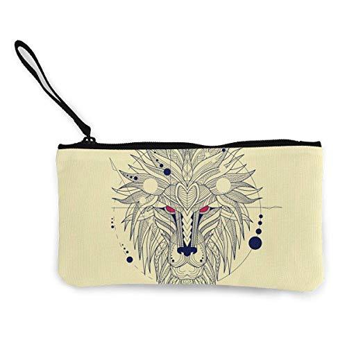 TTmom Carteras de Mujer, Monedero, Lions Cute Canvas Change Cash Coin Purse, Make Up Bag, Cellphone Bag with Handle Wallet Bag Change Pouch
