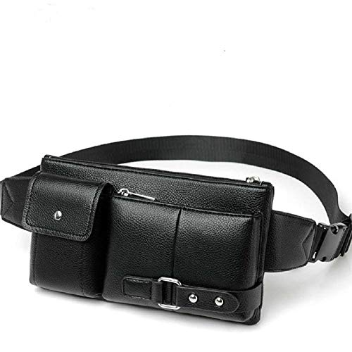 DFV mobile - Bag Fanny Pack Leather Waist Shoulder Bag for Ebook, Tablet and for POPTEL P9000 MAX (2018) - Black