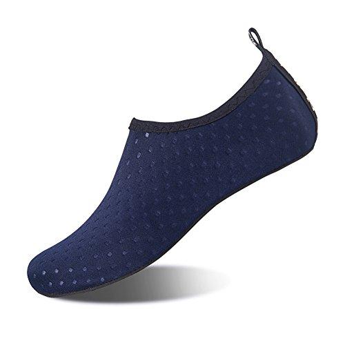 HMIYA Badeschuhe Strandschuhe Wasserschuhe Aquaschuhe Schwimmschuhe Surfschuhe Barfuß Schuhe für Damen Herren(Dunkelblauer Punkt,36-37 EU)