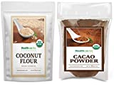 Healthworks Coconut Flour Unrefined Raw Organic (64 Ounces / 4 Pounds) and Cacao Powder (16 Ounces / 1 Pound)