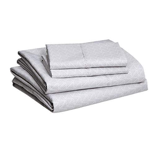 Amazon Basics Lightweight Super Soft Easy Care Microfiber Sheet Set with 14 Deep Pockets, Cal King, Grey Crosshatch