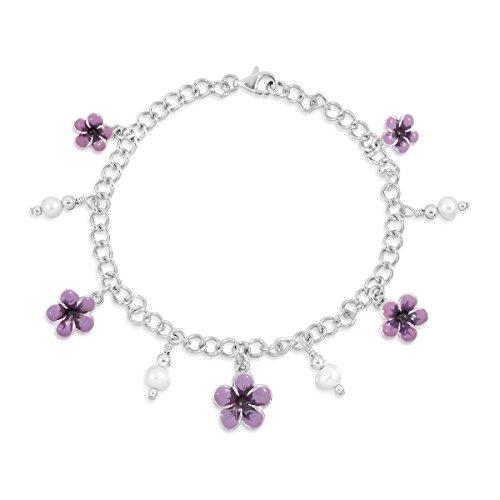 WithLoveSilver de plata de ley 925esmalte Plumeria Flores de Hibisco simulado perlas Link Pulsera, 8,5'