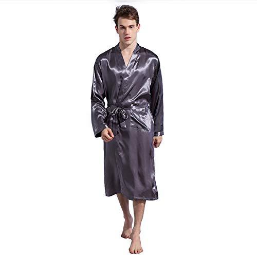 Mens Silky Satin Badjas Handdoek Super Soft Kamerjassen Zelf Tie Nightwear Housecoat Badstof Badrobe Loungewear (4 Kleuren),Gray,XL