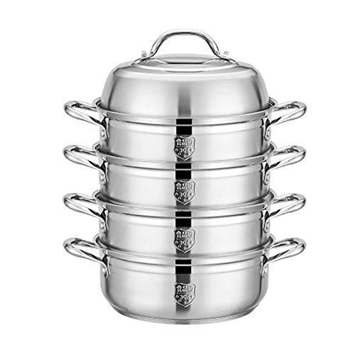 Utensilios de cocina al vapor 304 acero inoxidable de acero inoxidable / 4 capas de vaporizador, olla de sopa multifuncional para el hogar, utilizado para cocina de gas/cocina de inducción (26/28 /