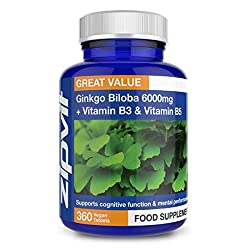 Ginkgo Biloba 6000mg High Strength | 360 Vegan Tablets with Vitamin B3 & B5 | Vegetarian Society Approved | UK Manufactured | Full Years Supply
