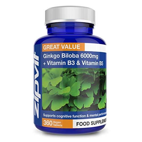 Ginkgo Biloba 6000 mg Estratto di foglie standardizzato, 360 Compresse Vegane con Vitamina B3 e B5. 24% di Glucosidi Flavonoidi e 6% di Terpenoidi. Fornitura per 12 mesi.