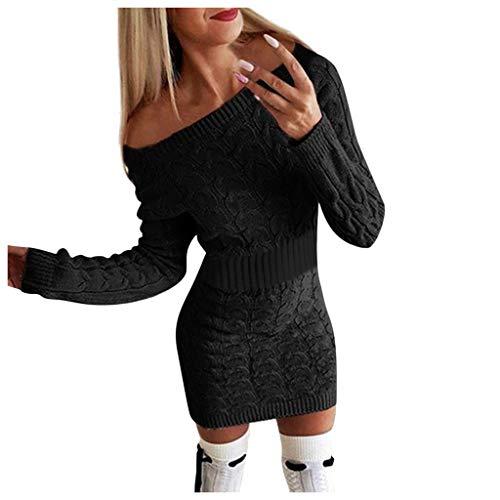 Janly Clearance Sale Vestido para mujer, de mitad de otoño e invierno, vestido largo trenzado de manga larga, vestido de color sólido, para vacaciones, boda, fiesta de cumpleaños (Negro-S)