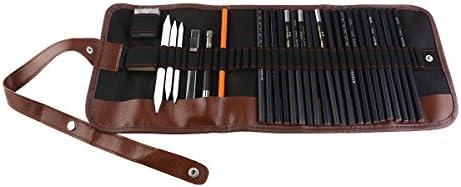 LEORX Eskiz ve çizim, sanatçı karbon kalem seti, çantalı, 30 adet