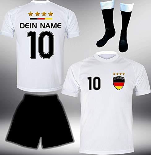 DE-Fanshop Deutschland Trikot Set 2018 mit Hose & Stutzen GRATIS Wunschname + Nummer im EM WM Weiss Typ #DE1ths - Geschenke für Kinder Erw. Jungen Baby Fußball T-Shirt Bedrucken