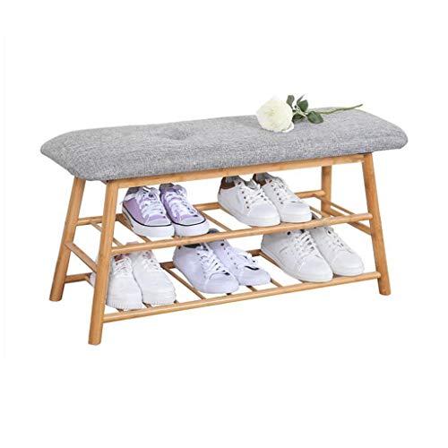 ZZYE Zapatero Rack de Zapatos Banco de bambú Pasillo Moderno Mueble de Almacenamiento Espacio Ahorro Versátil Superficie del Asiento del hogar (62 cm, 92 cm) Perchero Zapatero (Size : 92cm)