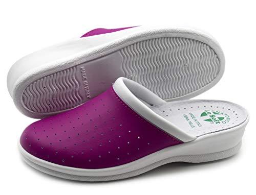 Chanclas sanitarias hombre y mujer, zapatillas profesionales cerradas, Zuecos sanitarios, zapatos ortopédicos cómodos, suela anatómica, Made in Italy Rosa Size: 39 EU