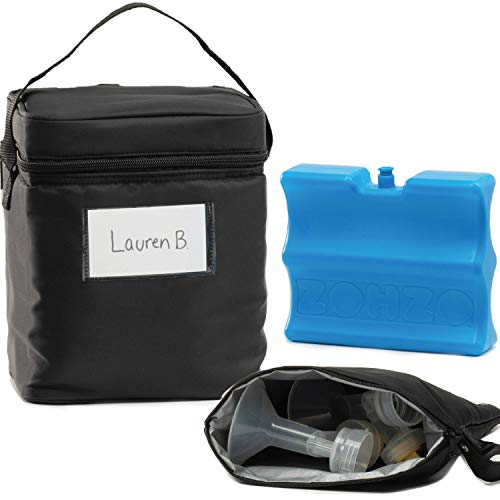 Zohzo Breastmilk Cooler Bag with Ice Pack - Insulated Breast Milk Cooler with Accompanying Wet/Dry Bag (Black)