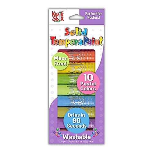 The Pencil Grip Kwik Stix Pastels Solid Tempera Paint, Super Quick Drying, 10 Colors (TPG-680)