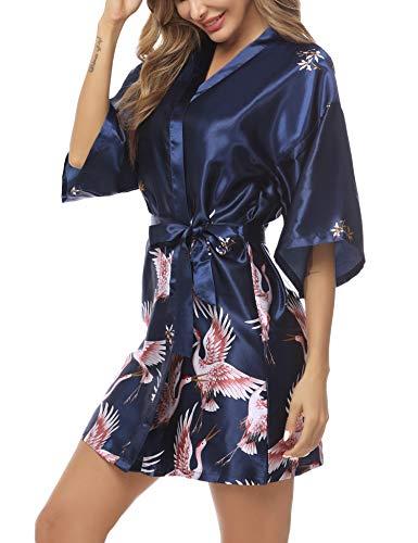 Hawiton Damen Morgenmantel Kimono Kranich Muster V Ausschnitt Bademantel Nachtwäsche Sleepwear Kurz Satin Robe Bademante