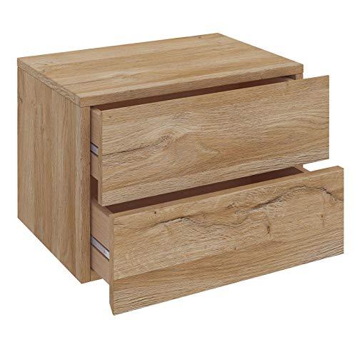 CARO-Möbel Nachtkommode ANNI Nachttisch Nachtschrank hängend Wandregal mit 2 Schubladen in Wildeiche