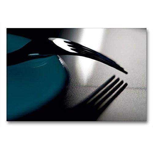 Premium Textil-Leinwand 90 x 60 cm Quer-Format Gabel an Teller | Wandbild, HD-Bild auf Keilrahmen, Fertigbild auf hochwertigem Vlies, Leinwanddruck von Helmut Probst