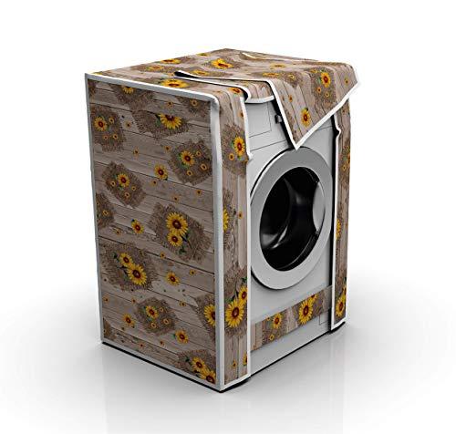 Capri Brand Copertura Impermeabile per Lavatrici e Asciugatrici (60x80x60 cm) Coprilavatrice per Esterno Anti-polvere Anti-ultravioletti Anti-ruggine e Anti-scolorimento (Girasole Fondo Beige)