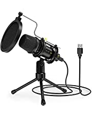 USB PC Microphone,noise reduction Professional Condenser PC Microphone with Tripod, Shock Mount Portable Microphone Kit,Pop Filter for gaming,Games Chat,Streaming,Broadcasting,Music Recording