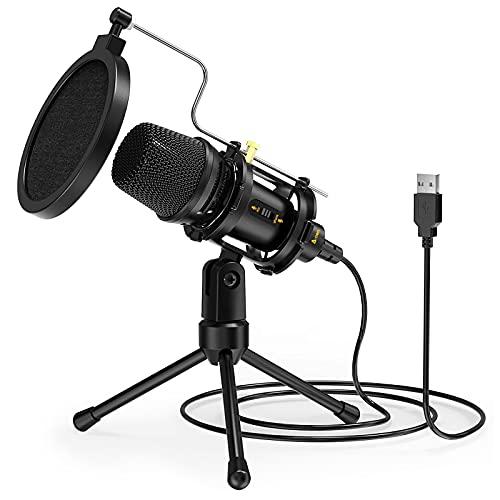 A-TION Micrófono PC USB, Micrófono PC Condensador Profesional con Trípode, Kit de Micrófono Portátil con Montaje Antichoque, Filtro Pop para Juegos Chat, Streaming, Transmisión, Grabación de Música