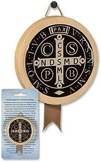 カトリック 2 1/4インチ ラウンドウッド ブラック エポキシ ヌルシアの聖ベネディクト メダル ホームプロテクション 飾り板