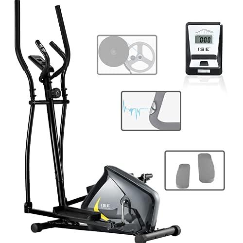 ISE Vélo Elliptique Vélo d'Appartement Magnétique 8 Niveaux de résistance, Crosstrainer pour Maison avec Capteur de Pouls, Poids d'inertie de 8 KG, écran LCD, Max.110kg, SY-9802