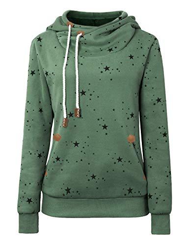 Cassiecy Damen Kapuzenpullover Winter Langarm Hoodie Pullover Baumwoll Zipped Sweatshirt Winterjacke Mantel Outwear (XL, Z_Dunkelgrün)