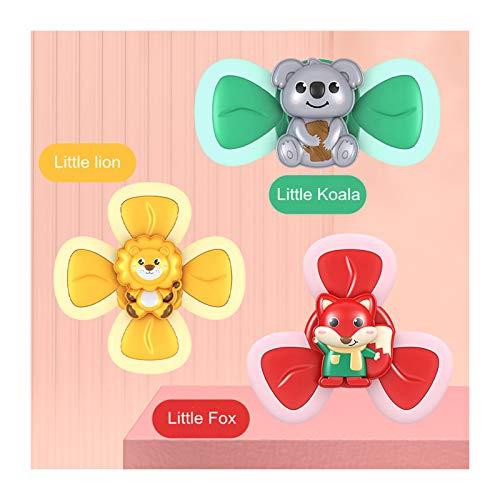 QTT 3 Piezas/Juego de Juguetes para Bebés Sucker Top Toys Juguetes de Baño para Bebés Juguetes Educativos Creativos para Bebés Tricolor para Niños Niños Niñas Niños
