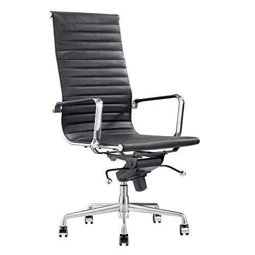 Vivol Madrid Design Schreibtisch Stuhl Schwartz - Bürostuhl Ergonomisch - Echt-Leder - Bürostuhl 120 kg - Drehstuhl mit Rollen und Armlehnen