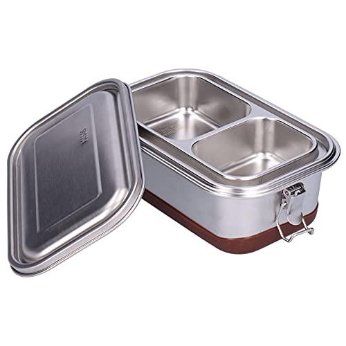 Contenitore per alimenti, contenitore per il pranzo argento per il campeggio per lo sport(1.2L-Doppio strato-Acciaio puro)