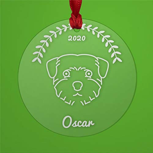 BYRON HOYLE Norfolk Terrier - Adorno de Navidad personalizado acrílico transparente para perro rescate mamá o papá propietario pandemia decoración de Navidad adorno de boda regalo de vacaciones