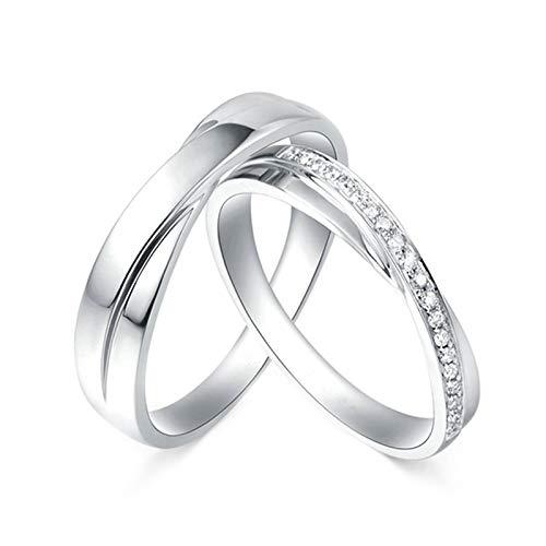 Daesar Platinum Rings for Women and Men Vintage Engagement Ring Set Crossed with 0.11ct Couple Ring Diamond White Gold Rings Women Size J 1/2 & Men Size N 1/2